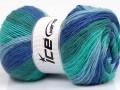 Angora print - modrotyrkysová