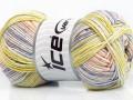 Baby bavlna print - fialovozelenolososová