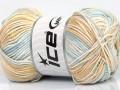 Baby bavlna print - krémovohnědomodrá