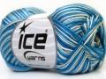 Bavlna Almina color - modrobílé odstíny
