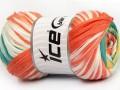 Bavlna tape color - oranžovokrémovozelenožlutá