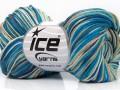 Čistá bavlna print - modrobéžová