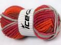 Elita vlna superbulky - oranžovočervenošedá