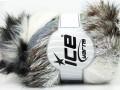 Furry Hat - bílošedohnědosříbrná