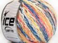 Pastelová bavlna - modrožlutolososovobílá