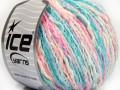 Pastelová bavlna - tyrkysovorůžovobílá