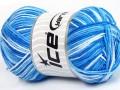 Přírodní bavlna vícebarevná - modré odstíny