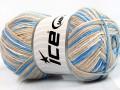 Přírodní bavlna vícebarevná - modrobéžovokrémová