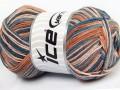 Přírodní bavlna vícebarevná - modrohnědá