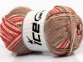 Přírodní bavlna vícebarevná - rajčatovočervenovelbloudí