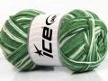 Přírodní bavlna vícebarevná - zelené odstíny