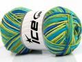 Přírodní bavlna vícebarevná - zelenomodrá