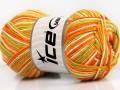 Přírodní bavlna vícebarevná - zelenooranžovokrémová