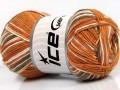 Přírodní bavlna vícebarevná - zlatokrémovohnědá