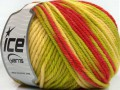 Superwash vlna bulky color - zelenokrémovočervená