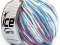 Vlna bulky color - modrokaštanovobílá