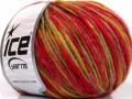 Vlna cord aran - červenoolivovoměděná