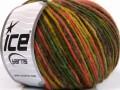 Vlna cord aran - zelenohnědolososová