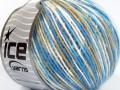 Vlna Cord light - modrobéžovobílá