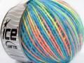 Vlna Cord light - modrolosovožlutozelená