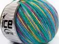 Vlna Cord light - modrozelenopurpurovožlutá