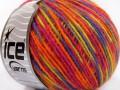 Vlna Cord light - oranžovopurpurovosvětle zelenáčervená