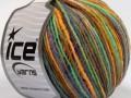 Vlna Cord light - zelenofialovozlatá