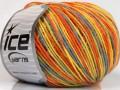 Vlna DK color - oranžovožlutošedá