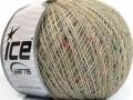 Vlna len tweed - béžovokrémovoduhová