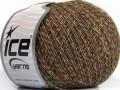 Vlna len tweed - hnědokrémovoduhová