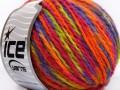 Vlna worsted color - fialovooranžovozelená