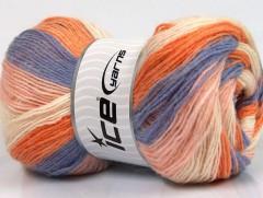 Angora print - fialovooranžovosvětlerůžovákrémová