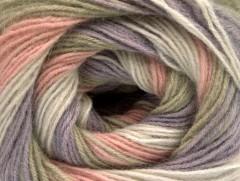 Angora print - fialovorůžovokhaki