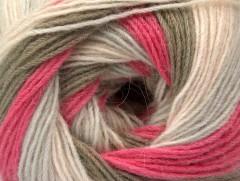 Angora print - růžovokhakišedá