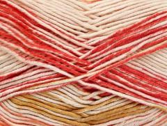 Baby bavlna print - růžovoolivovooranžovokrémová