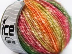 Bavlna pastel - oranžovozlatozelenočervená