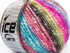 Bavlna pastel - tyrkysovorůžovozelená
