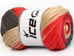 Bavlna tape color - béžovolososovotmavě hnědávínová