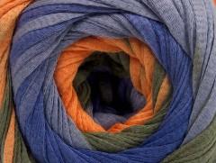 Bavlna tape color - ooranžovokhakifialová