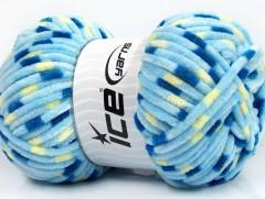 Chenille baby collors - modrožlutá