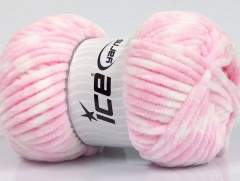 Chenille baby collors - světle růžovobílá