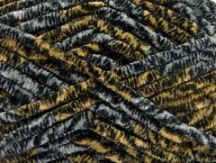 Chenille Safari - černošedožlutá 1