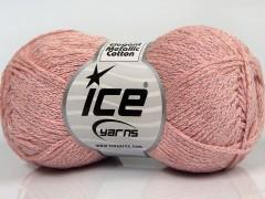 Elegantní metalická bavlna - pudrově růžová