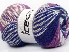 Jacquard vlna - purpurovofialovobílá