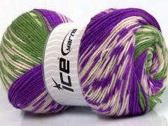 Jacquard vlna - purpurovozelenokrémová