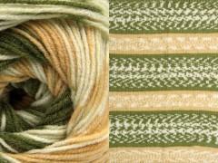 Jacquard vlna - zelenobílákávakrémová