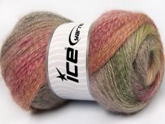 Mohér pastel - velbloudízelenorůžová