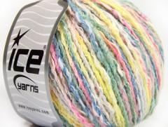 Pastelová bavlna - zelenomodrožlutorůžovobílá