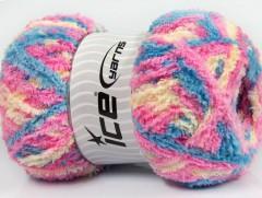 Puffy - růžovomodrokrémová