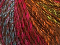Roseto worsted - hnědofuchsiovotyrkysovozlatozelená